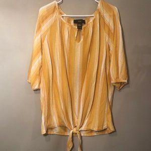 🌈3/22 Rain | Tie Front Yellow Striped Blouse Sz L